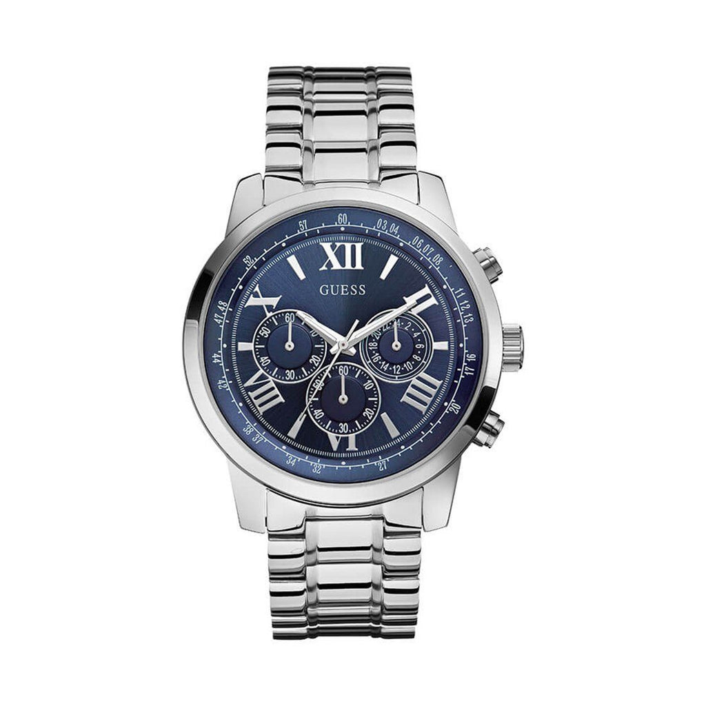 Guess Men's Blue Multi Dial Silver Bracelet Watch - W0379G3