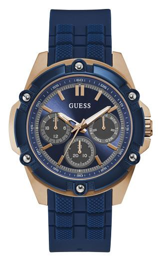 Guess Bolt Blue and Rose Gold Watch W1302G4 Watches Guess