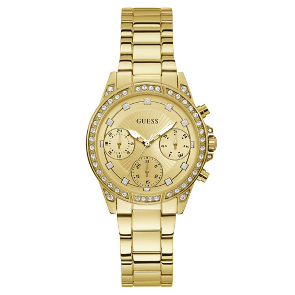 Guess Gemini Cubic Zirconia Gold Watch W1293L2
