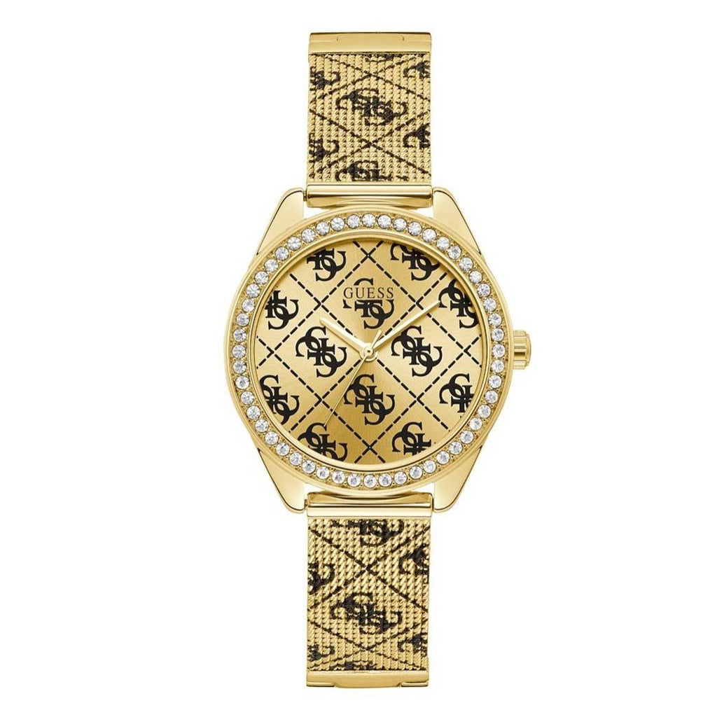 Guess Gold-Tone Tiled Logo Analog Watch U1279L2 Watches Guess