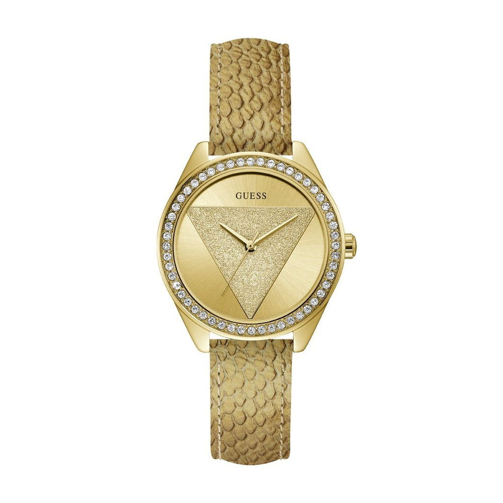 Guess Ladies Tri Glitz Gold Leather Watch Model W0884L5