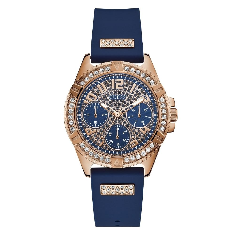 Guess Lady Frontier Rose Gold & Blue Ladies Watch W1160L3
