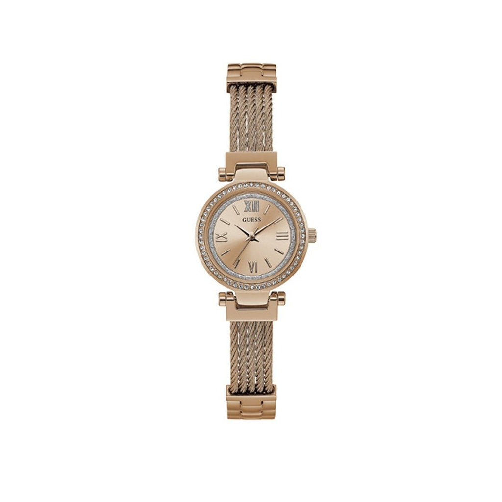Guess Ladies Mini Soho Crystal Rose Gold Watch W1009L3 Watches Guess