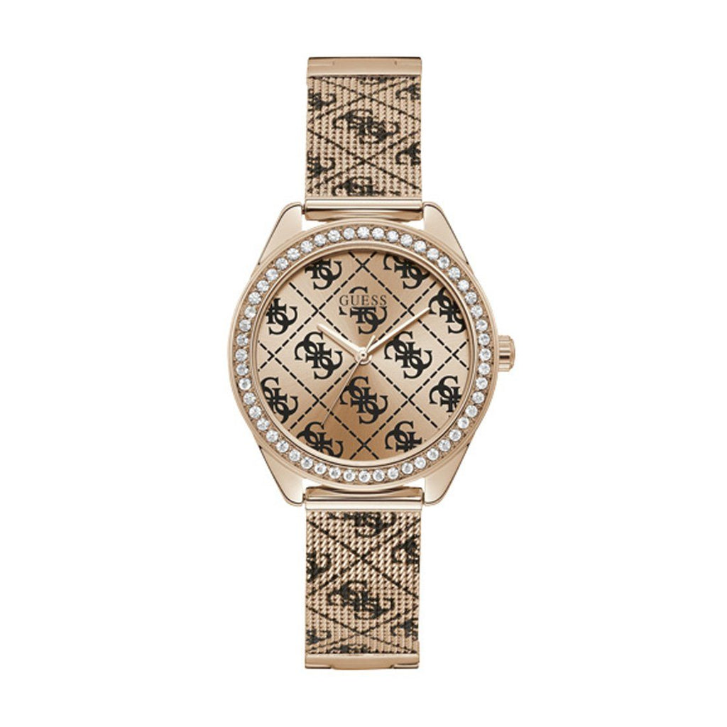 Guess Claudia Rose Gold-Tone Tiled Logo Analog Watch U1279L3