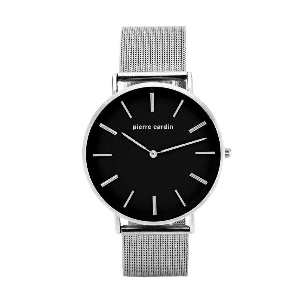 Pierre Cardin Tommy Silver Mesh Black Face Watch 5645 Watches Pierre Cardin