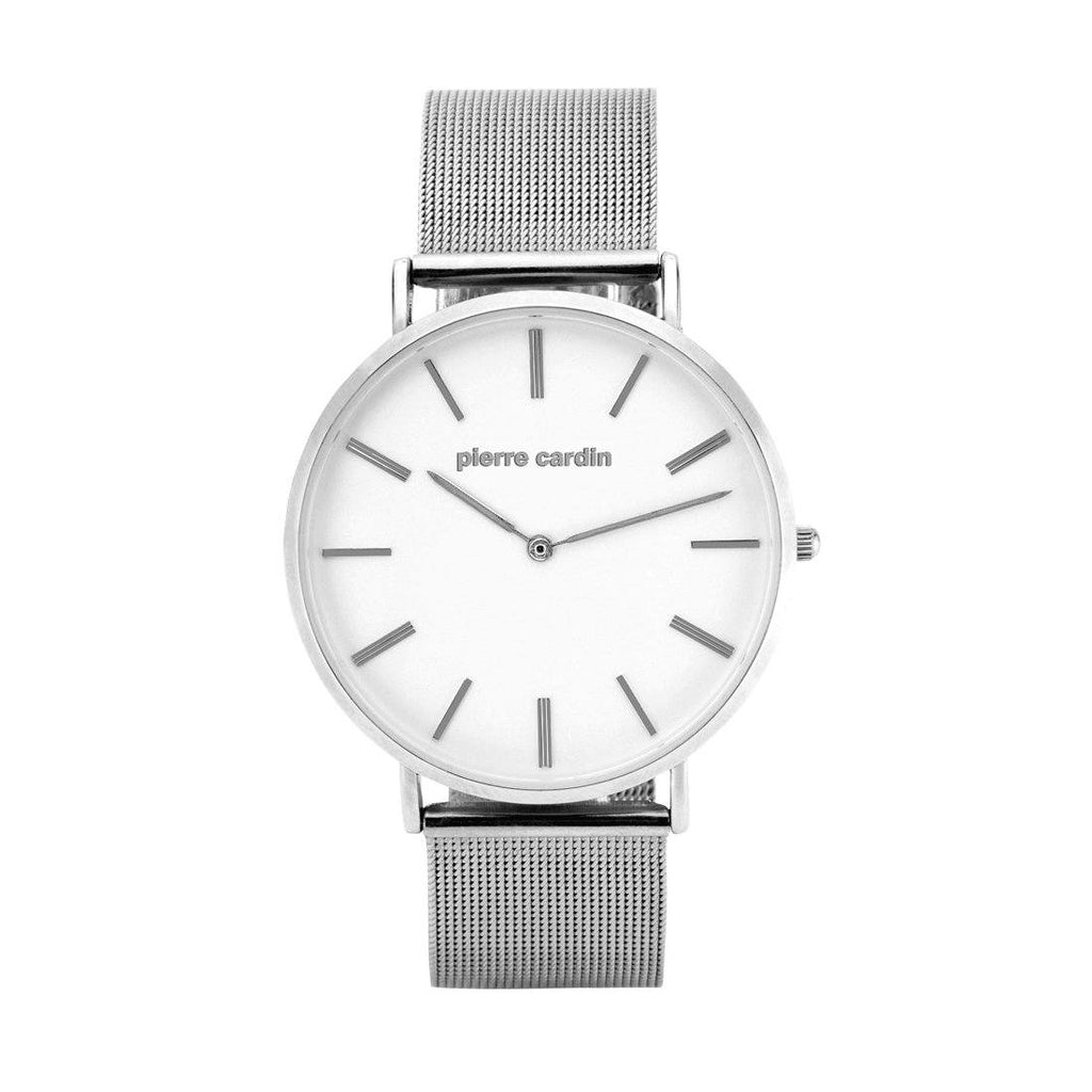 Pierre Cardin Tommy Silver Mesh White Face Watch 5655 Watches Pierre Cardin