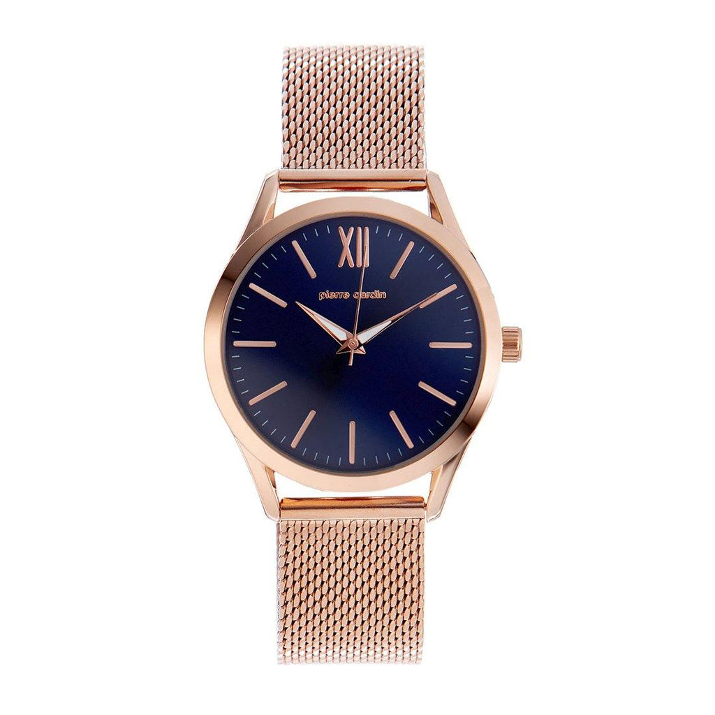 Pierre Cardin Rose Gold Tone Blue Face Watch 5815M Watches Pierre Cardin