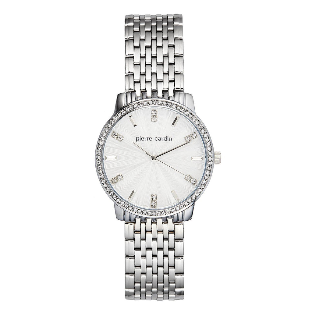 Pierre Cardin Women's Stone Set White Face Silver Watch 5942 Watches Pierre Cardin
