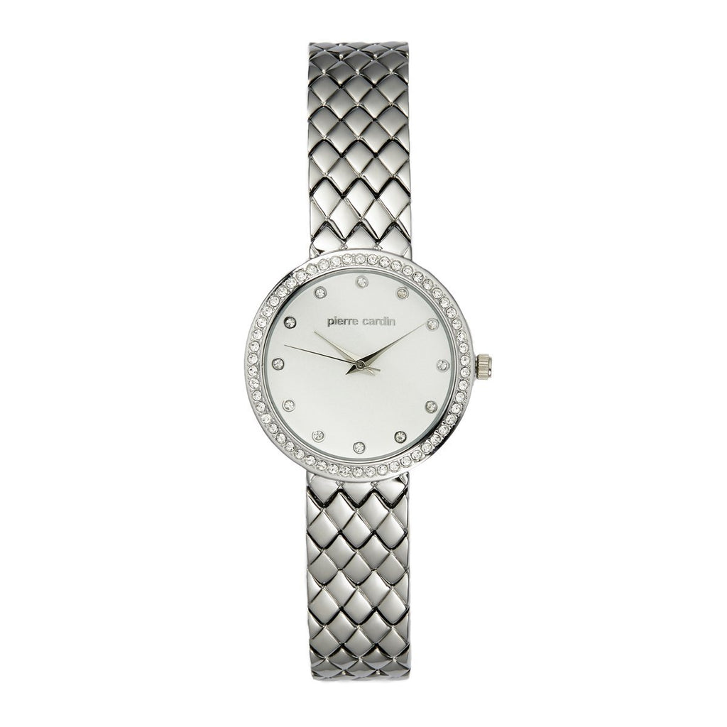 Pierre Cardin Women's Stone Set White Face Silver Watch 5890 Watches Pierre Cardin
