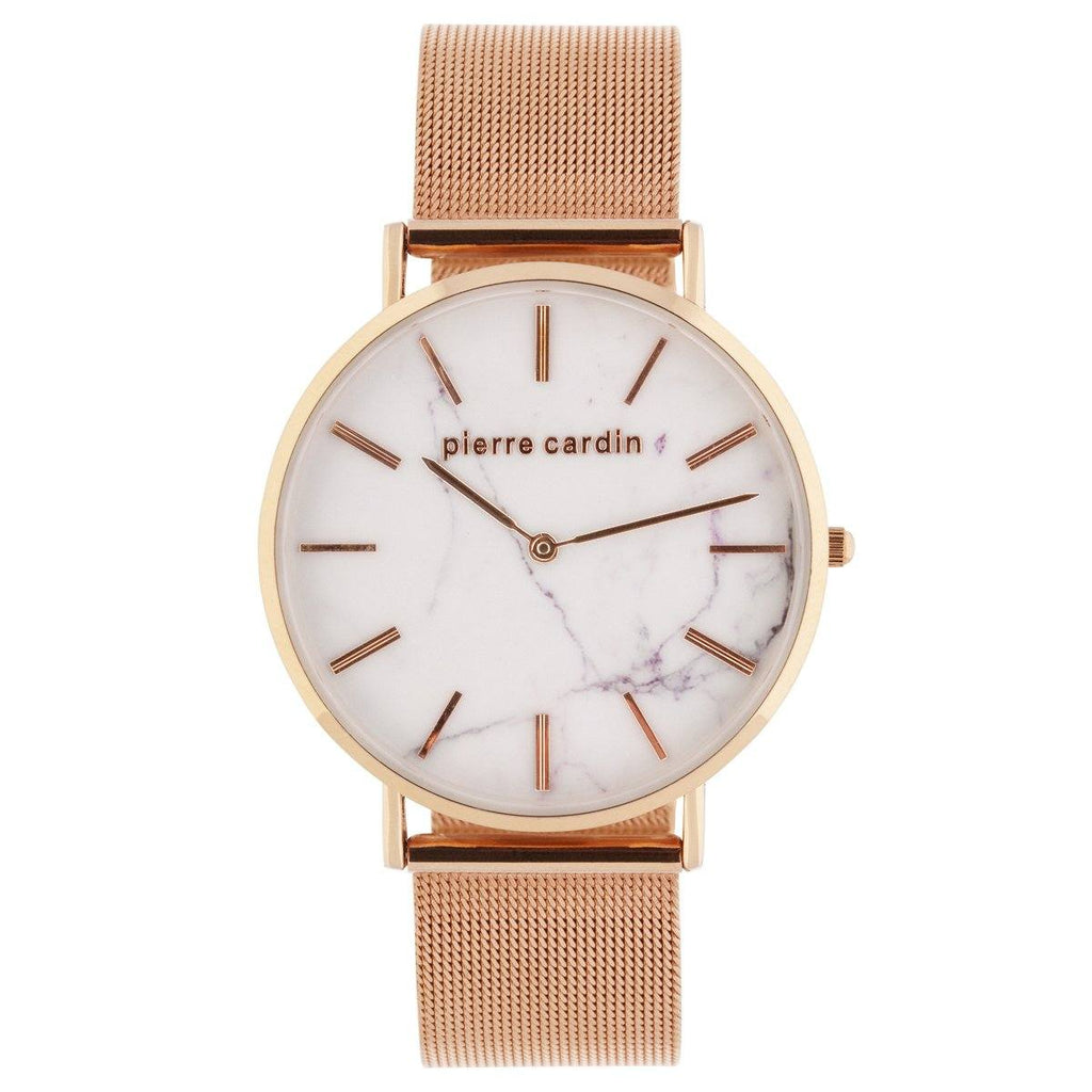Pierre Cardin Tommy Rose Mesh White Marble Face Watch 5685
