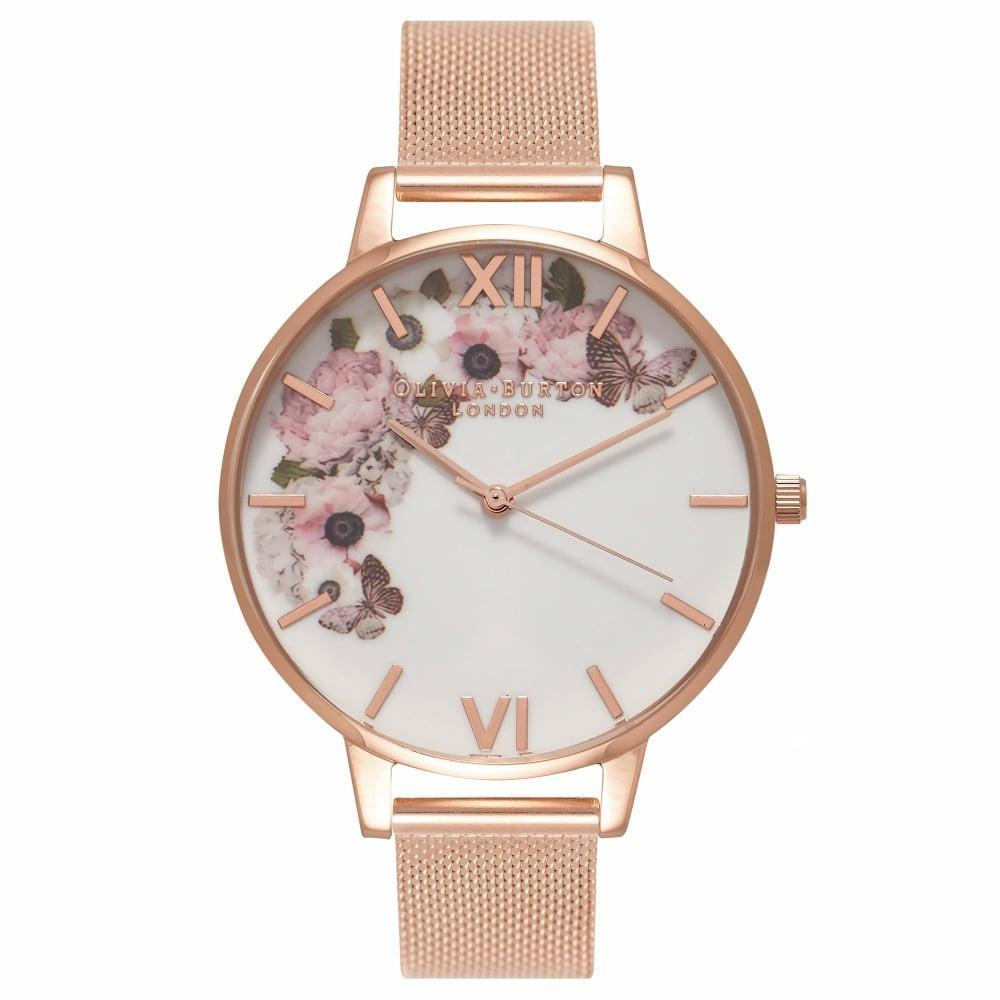 Olivia Burton Signature Floral Rose Gold Mesh Watch OB16WG18