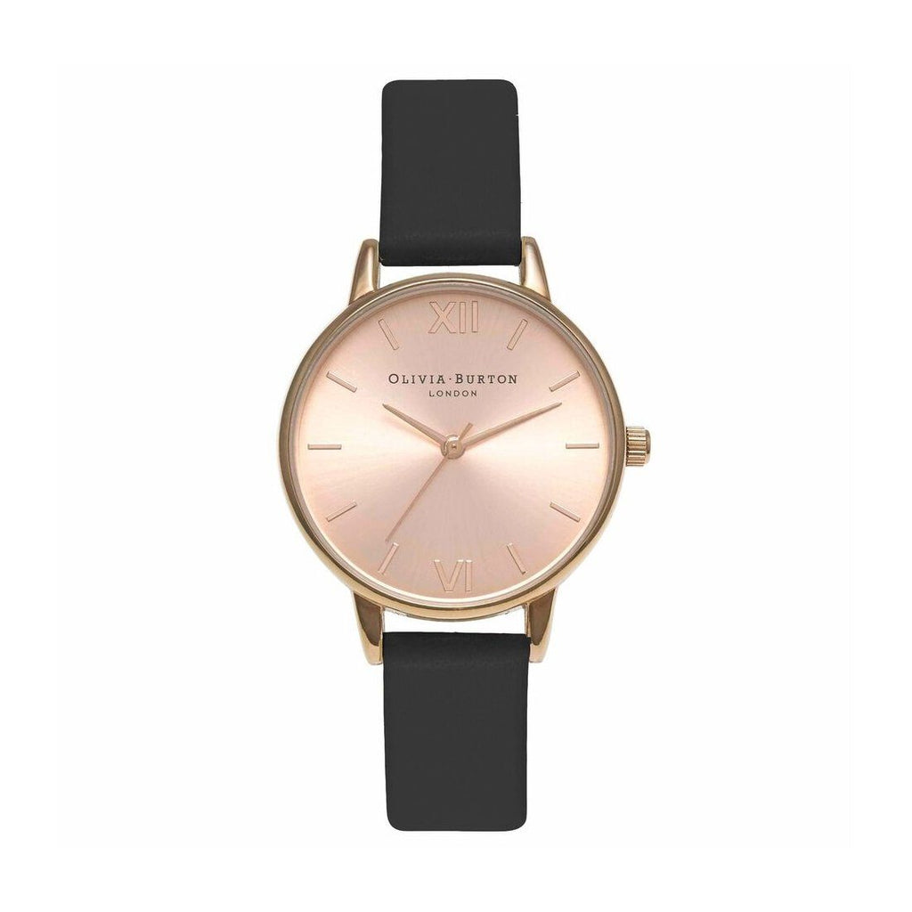 Olivia Burton Midi Dial Black and Rose Gold Watch OB15MD39