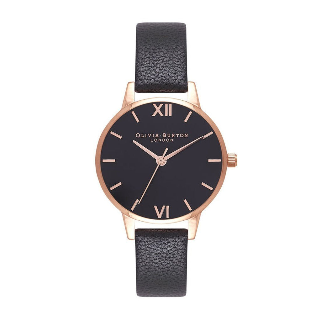 Olivia Burton Rose Gold Black Leather Watch OB16MD83