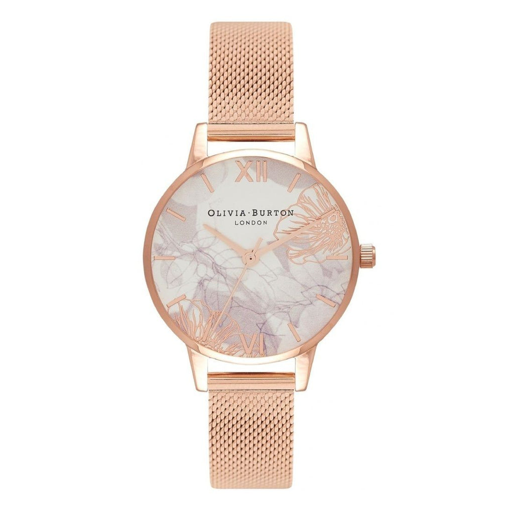 Olivia Burton Abstract Florals Rose Gold Mesh Watch OB16VM11