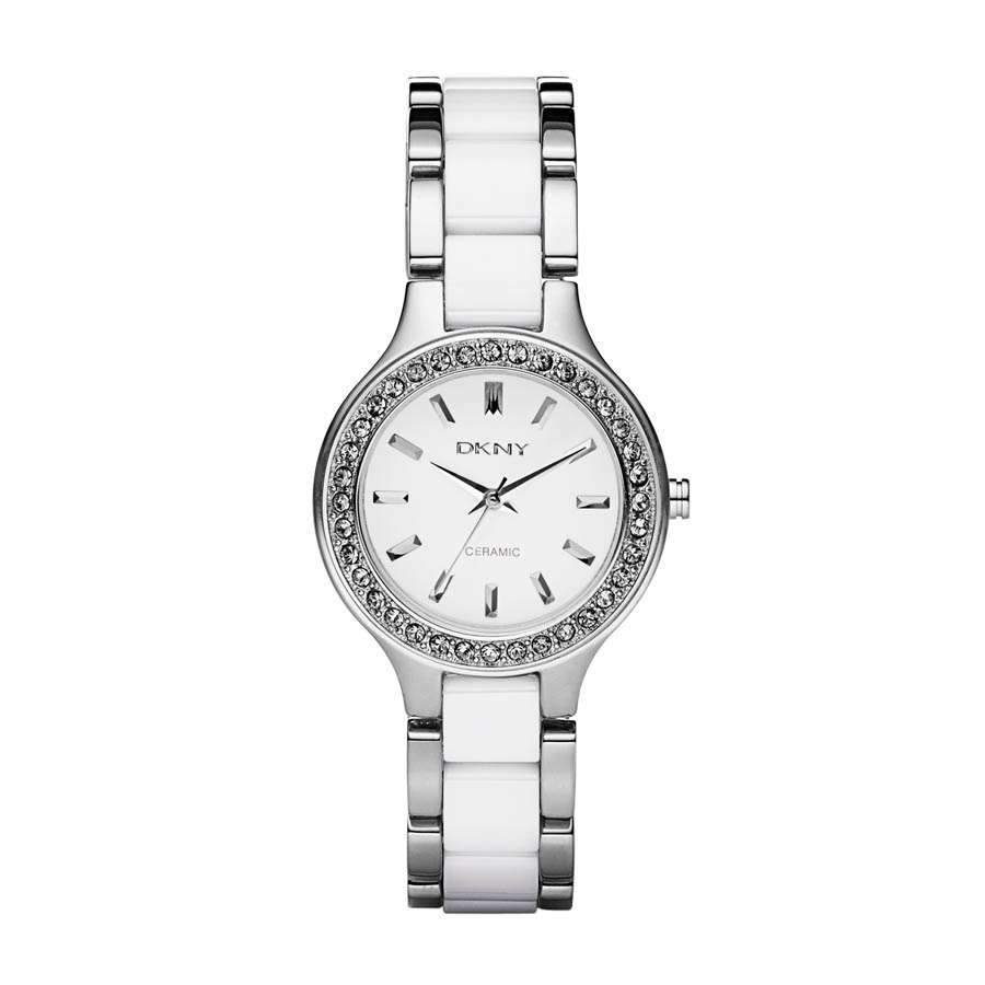 DKNY Womens Chambers White Ceramic Quartz Watch NY2494