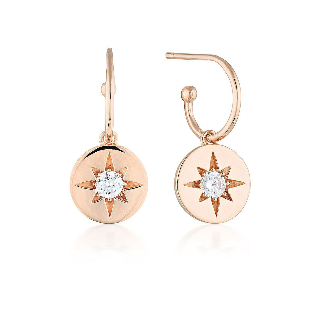 STELLAR LIGHTS ROSE GOLD DROP HOOP EARRINGS Bevilles Jewellers