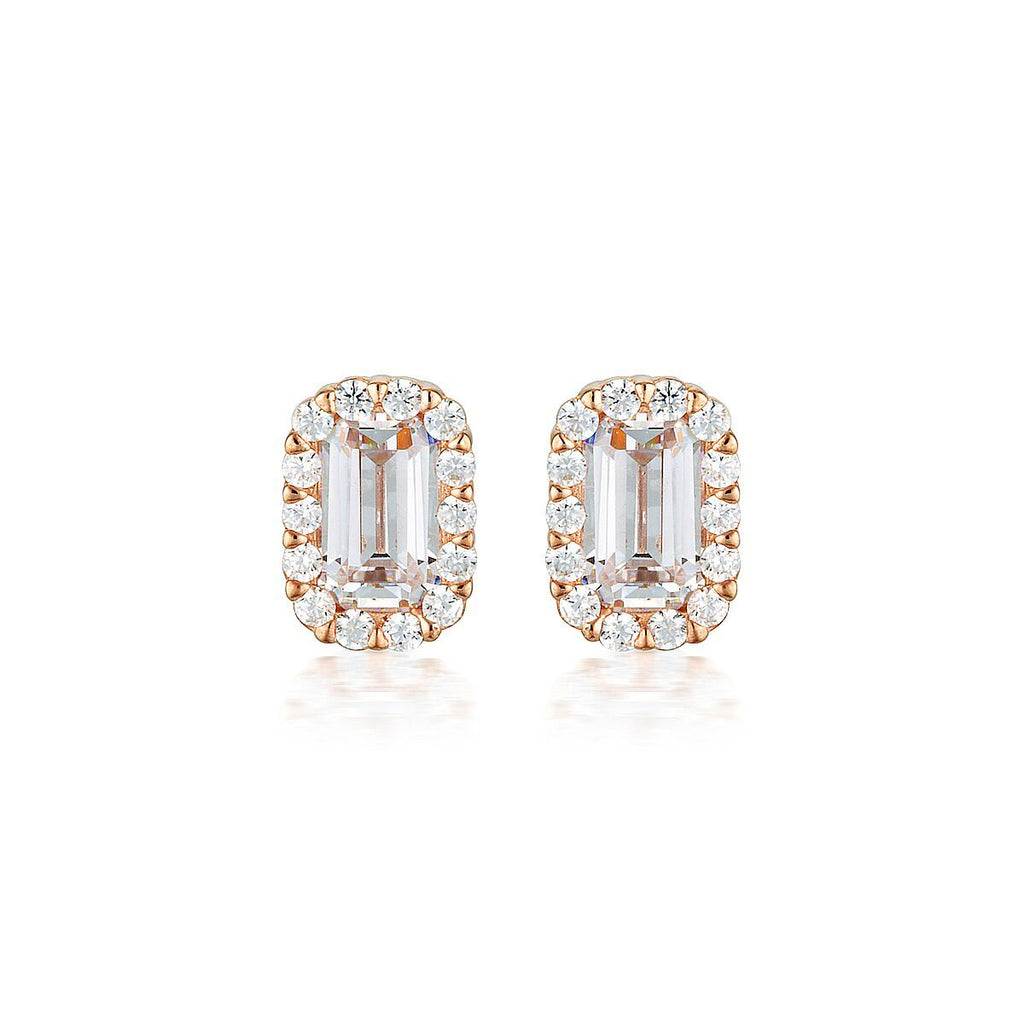 WHITE CZ ROSE GOLD 20MILS EARRING Bevilles Jewellers
