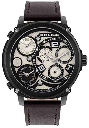 Police Titan Multifunction IP Brown Leather Watch PL.15659JSB/14 Watches Police