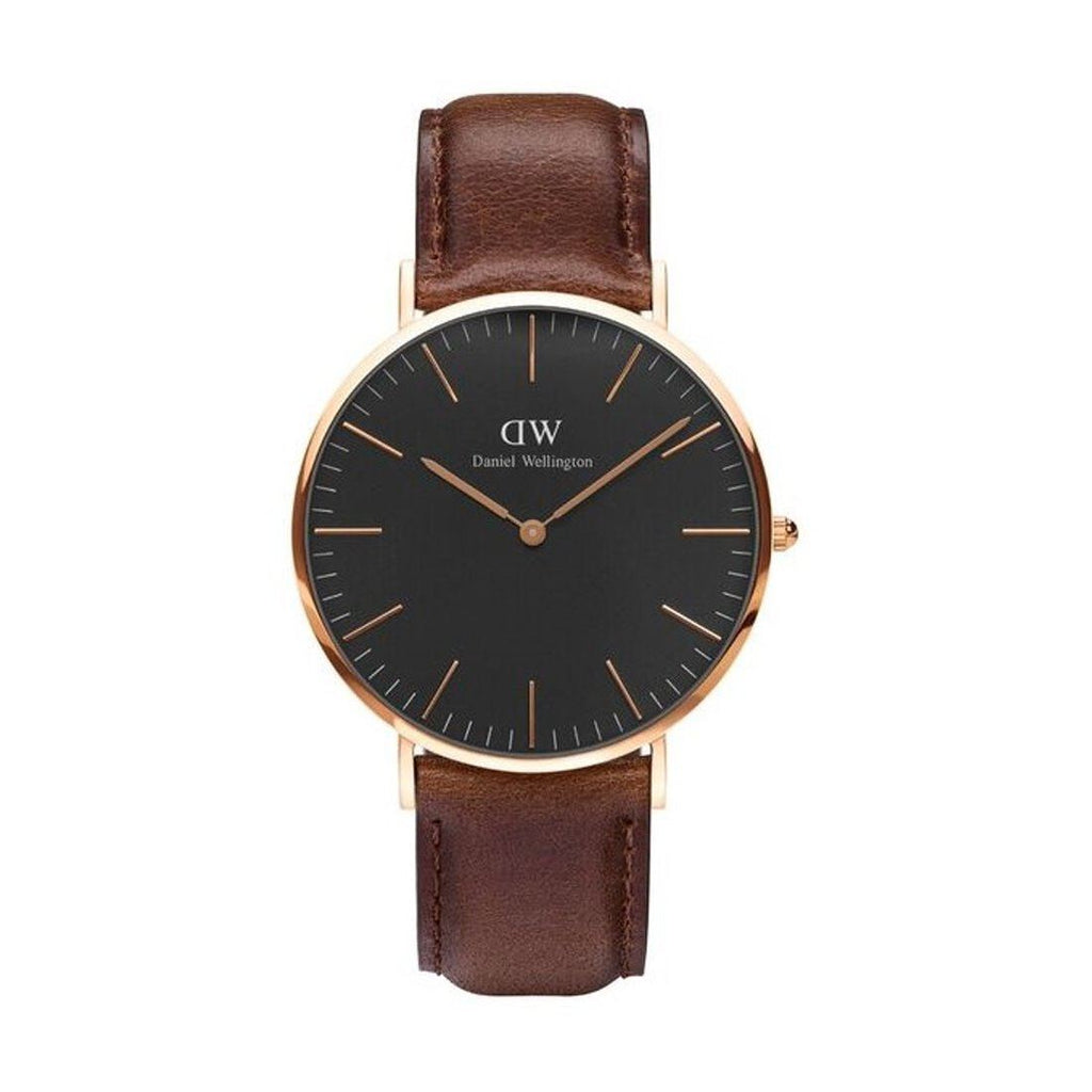 Daniel Wellington 40mm St Mawes Rose Gold Brown Leather Strap Model DW00100124
