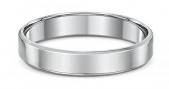 Dora 4mm Flat Bevel Edge Wedding Band in Sterling Silver Size T Rings Dora