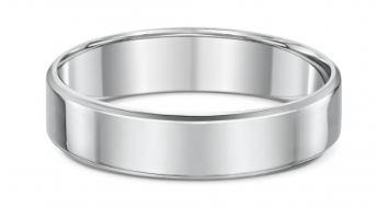 Dora 4mm Flat Bevel Edge Wedding Band in Sterling Silver Size W Rings Dora