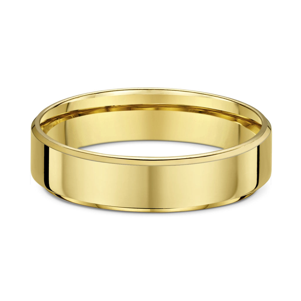 Dora 5mm Flat Bevel Edge Wedding Band in 9ct Yellow Gold Size T Rings Dora