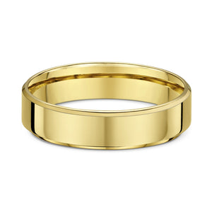 Dora 5mm Flat Bevel Edge Wedding Band in 9ct Yellow Gold Size T