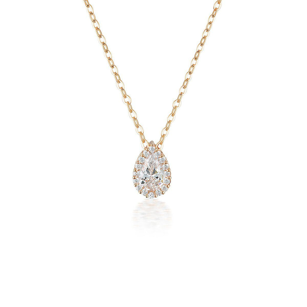 WHITE CZ ROSE GOLD 20MILS PENDANT Bevilles Jewellers