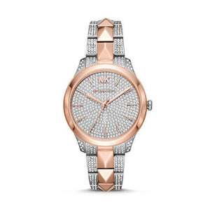 Runway Mercer Pave Rose Gold-Tone & Silver Watch MK6716