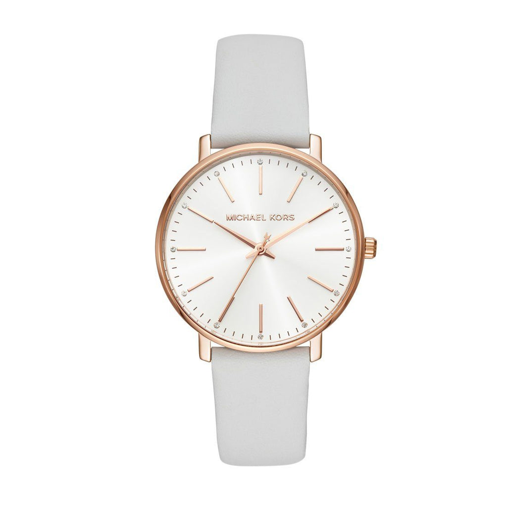 Michael Kors Ladies Pyper Rose Case White Leather Watch MK2800 Watches Michael Kors