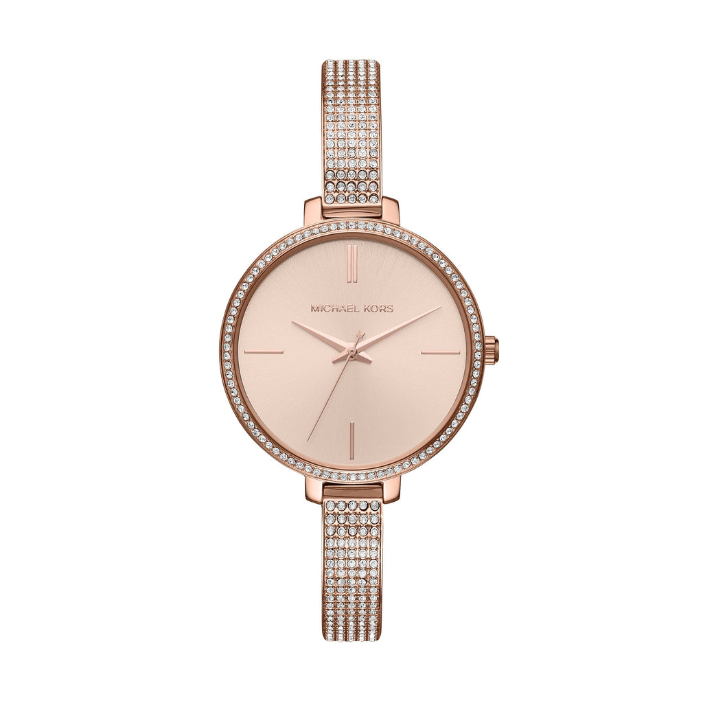 Michael Kors Ladies Jaryn Crystal Case Band Rose Gold Model MK3785 Watches Michael Kors