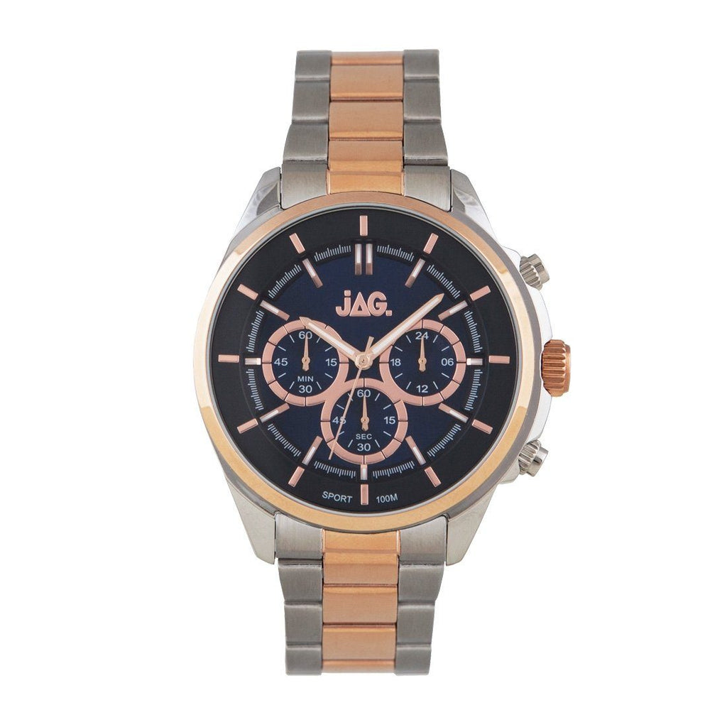 Jag Mens Chronograph Blue Face Two-Tone Rose Silver Watch J2195A Watches Jag