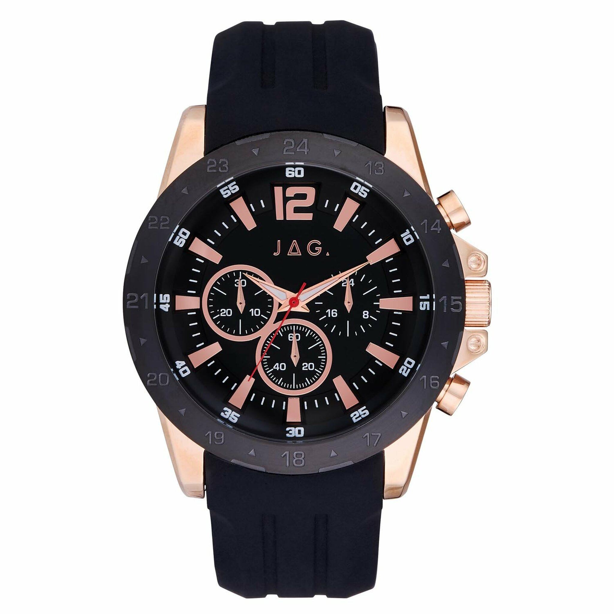 Jag Chronograph Black and Rose Gold Men's Watch J2428