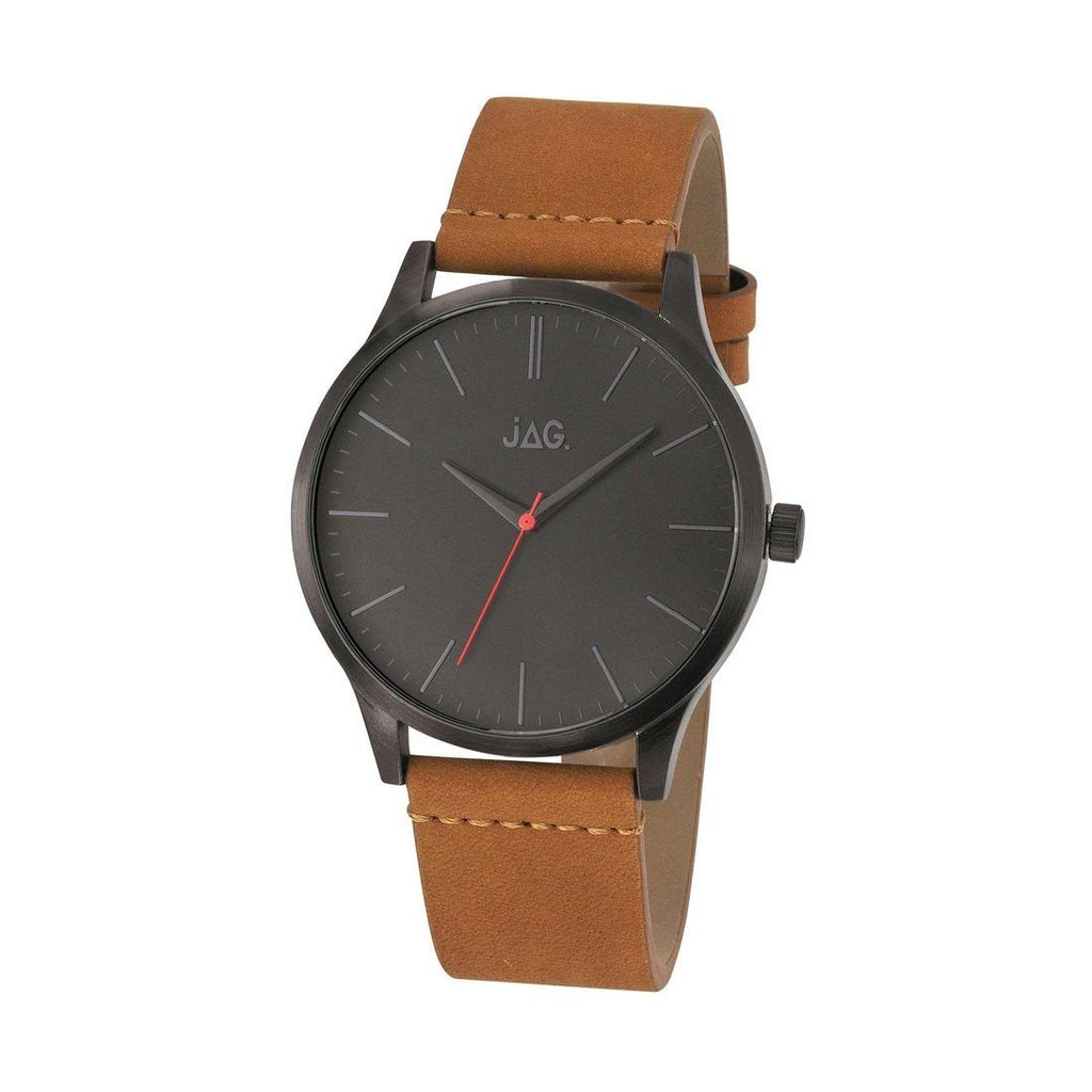 JAG Malcolm Gents Brown Leather Strap Black Face Watch J1915