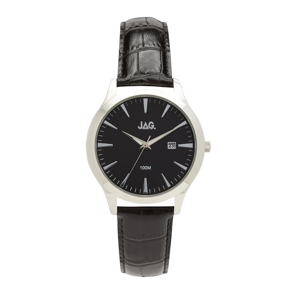 Jag Black Leather Watch Model J2125