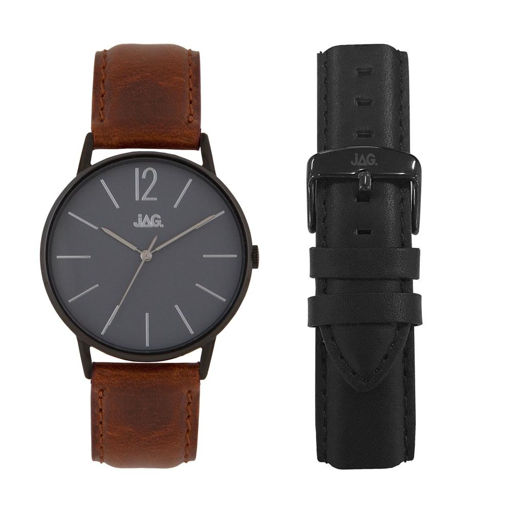 Jag Mens Balck Face Case Brown Leather Band Set Model J2184
