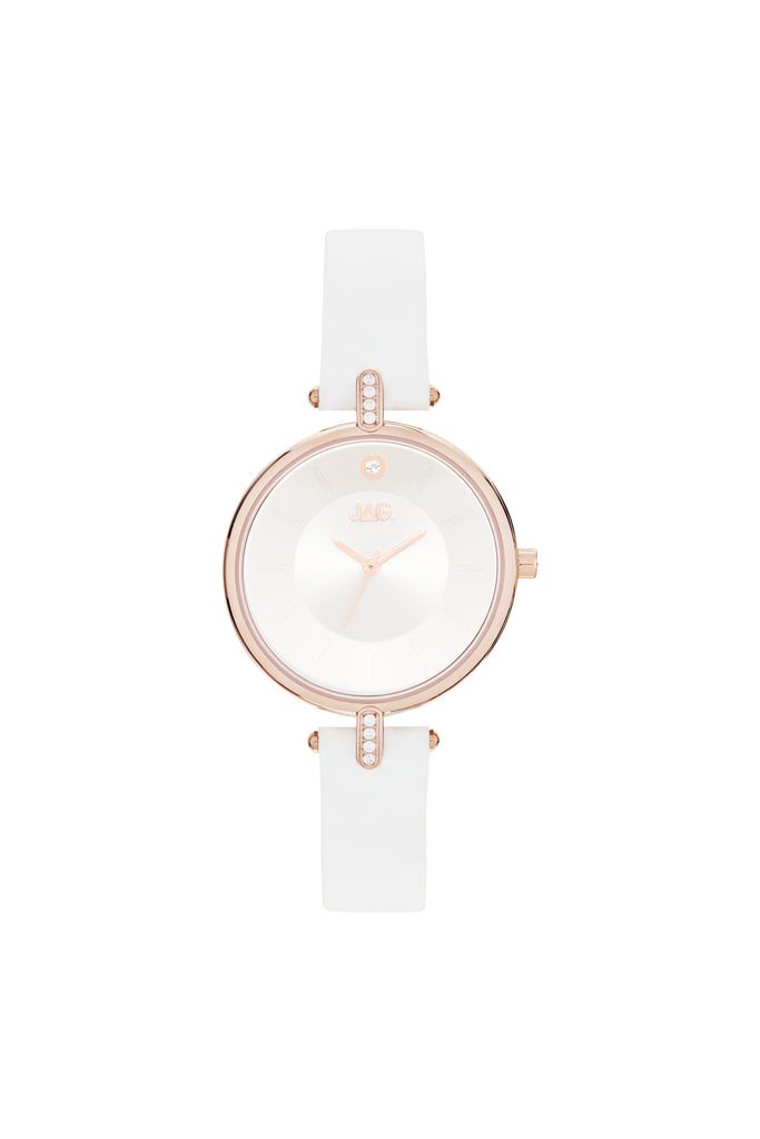 Jag Ladies White Leather Watch Model J2232
