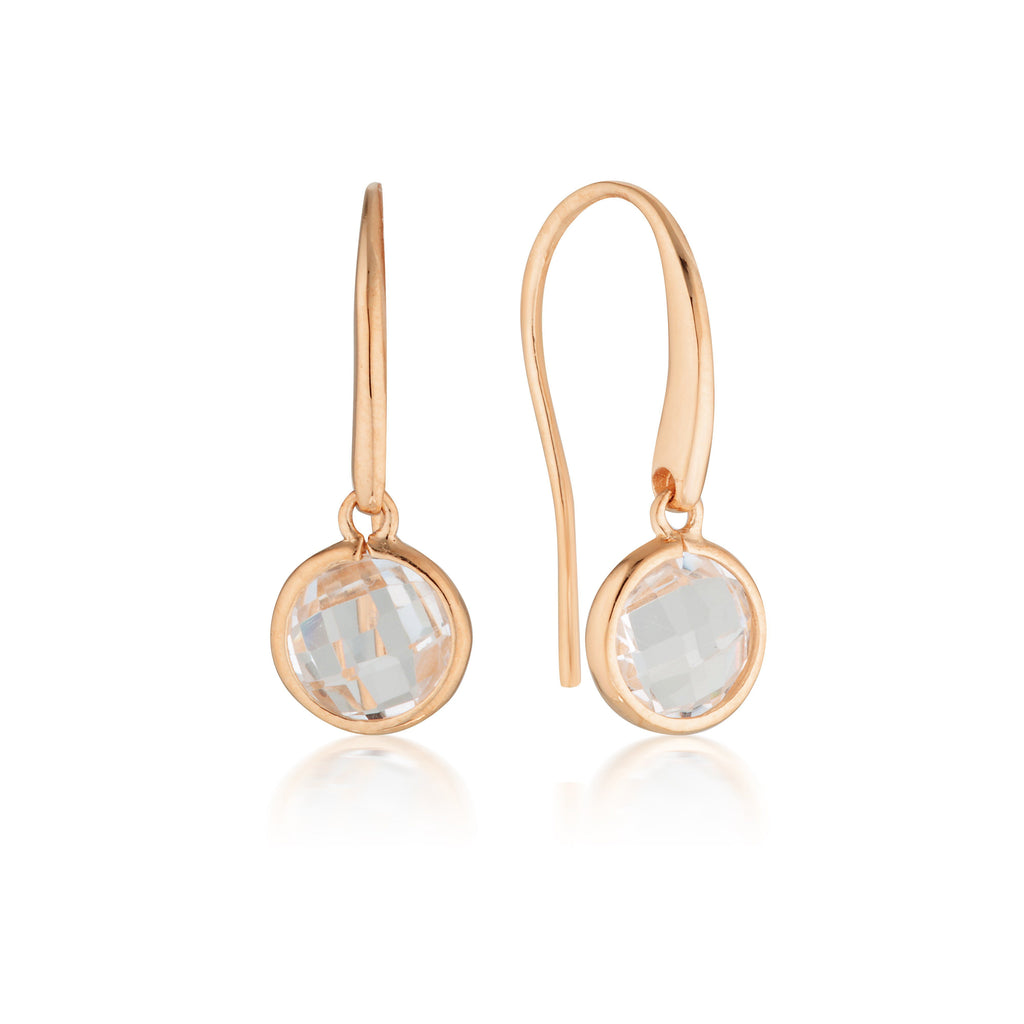 Georgini Lucent Rose Gold Hook Earrings Small Bevilles Jewellers