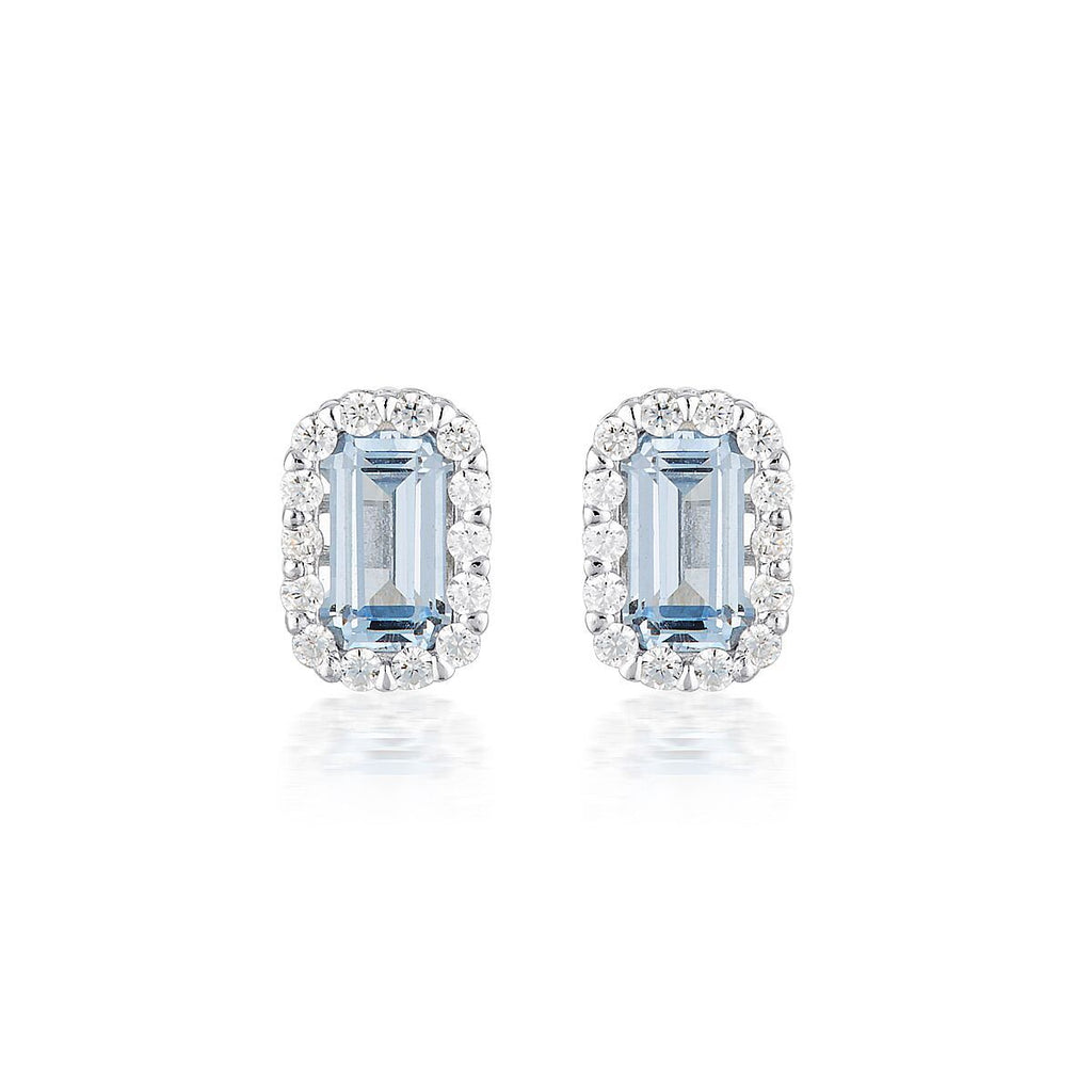 WHITE AQUA SPINEL RHODIUM 3MILS EARRING Bevilles Jewellers