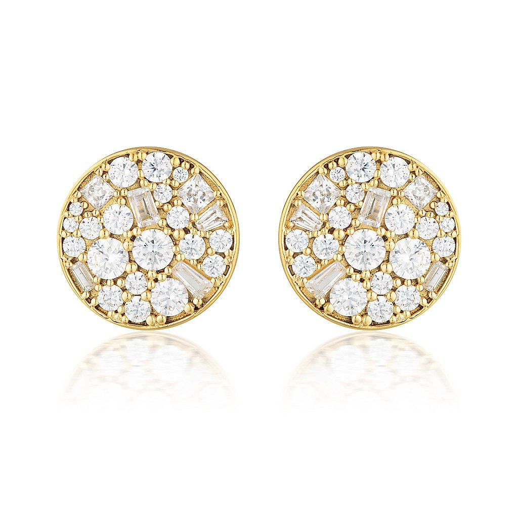MOSAIC DISC GOLD STUD EARRING Bevilles Jewellers