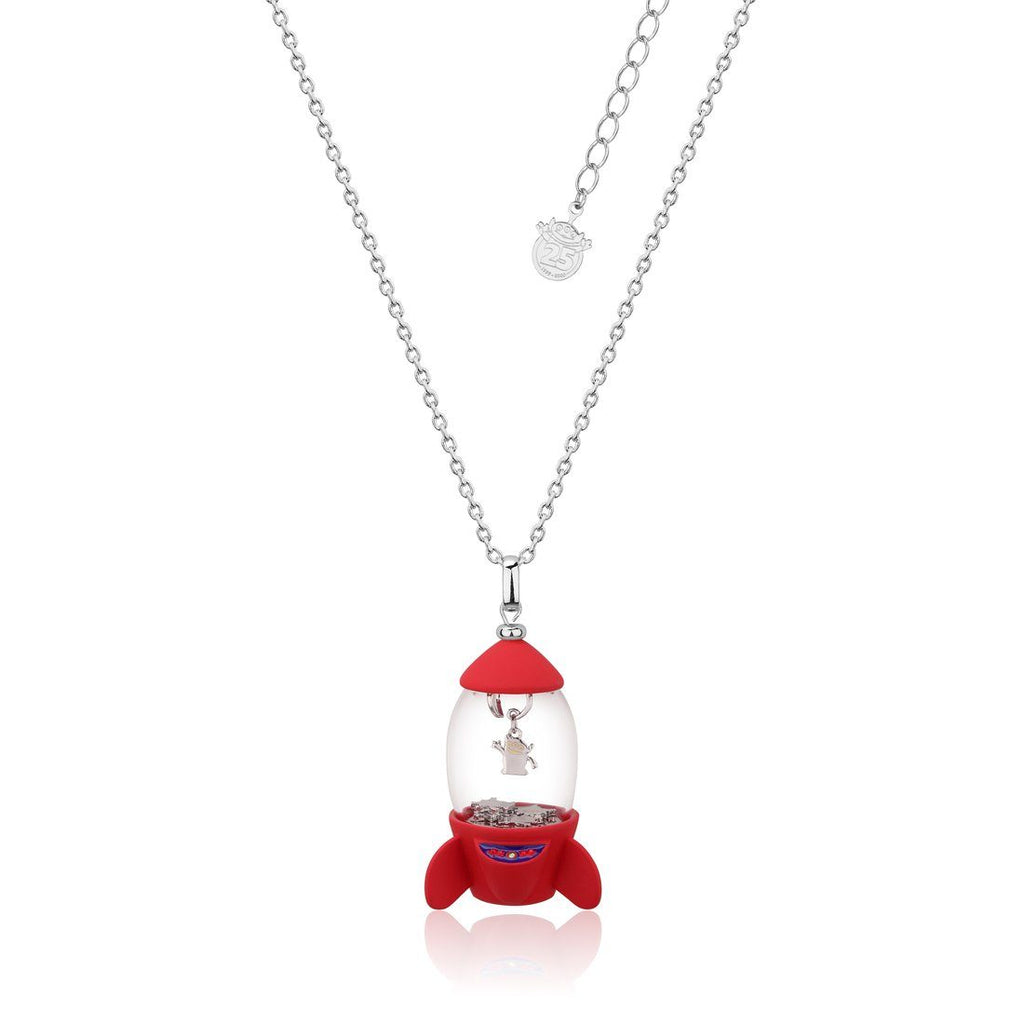 Disney Pixar Toy Story Alien Pizza Planet Rocket Necklace 14ct White Gold Plated Necklaces Disney by Couture Kingdom