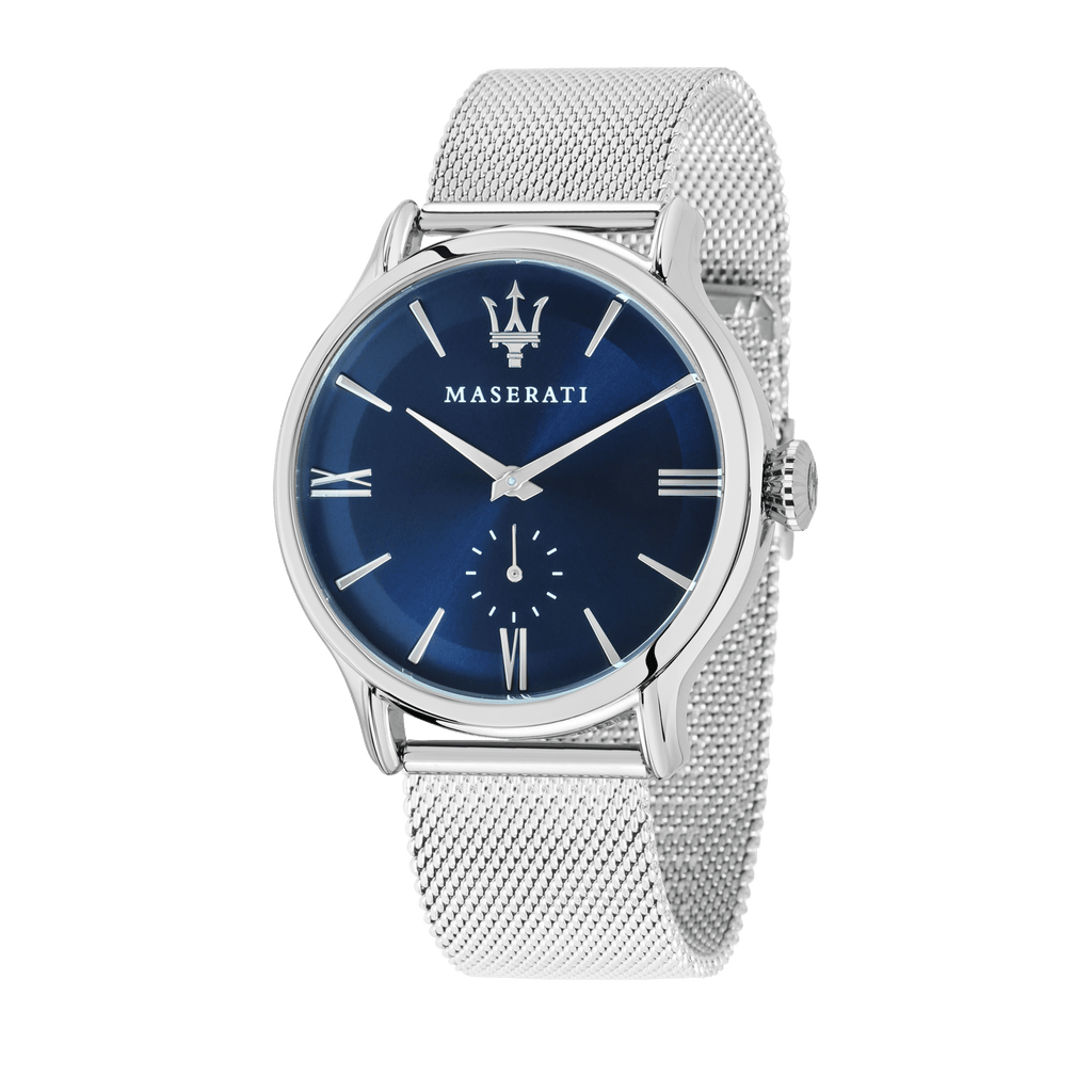 Maserati EPOCA 42mm Blue Dial Steel Mesh Watch Watches Maserati