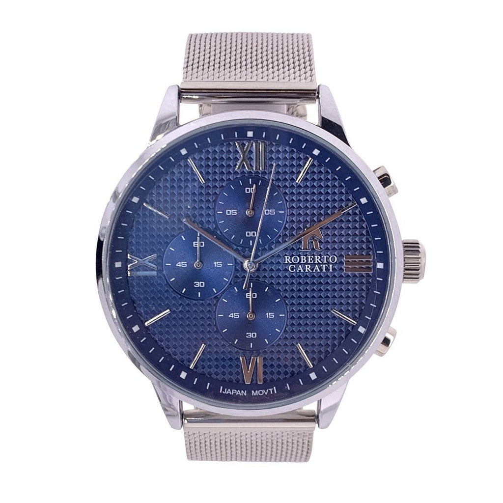 Roberto Carati Stanley Blue and Silver Mesh Watch Watches Roberto Carati