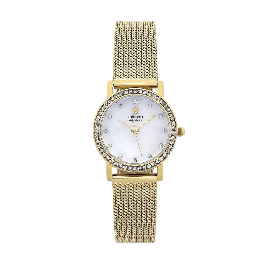 Roberto Carati Sandy Gold Mesh Band Watch