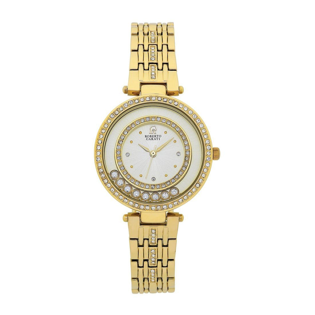 Roberto Carati Tora Crystal Case Gold Tone Watch Watches Roberto Carati