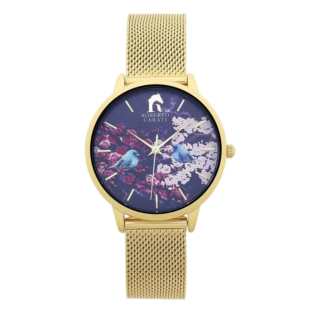 Roberto Carati Tyra Ladies Gold Floral Watch Watches Roberto Carati