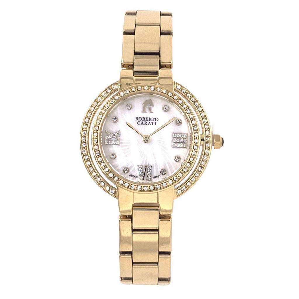 Roberto Carati Ambrosia Crystal Mother of Pear Gold Watch Watches Roberto Carati