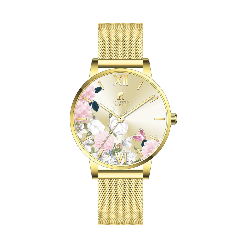 Roberto Carati Pippa Ponies and Butterfly Gold Mesh Watch Watches Roberto Carati
