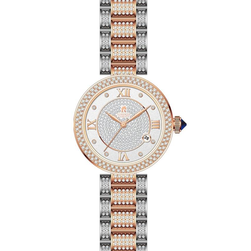 Roberto Carati Aspen Two Tone Rose & Silver Crystal Watch Watches Roberto Carati