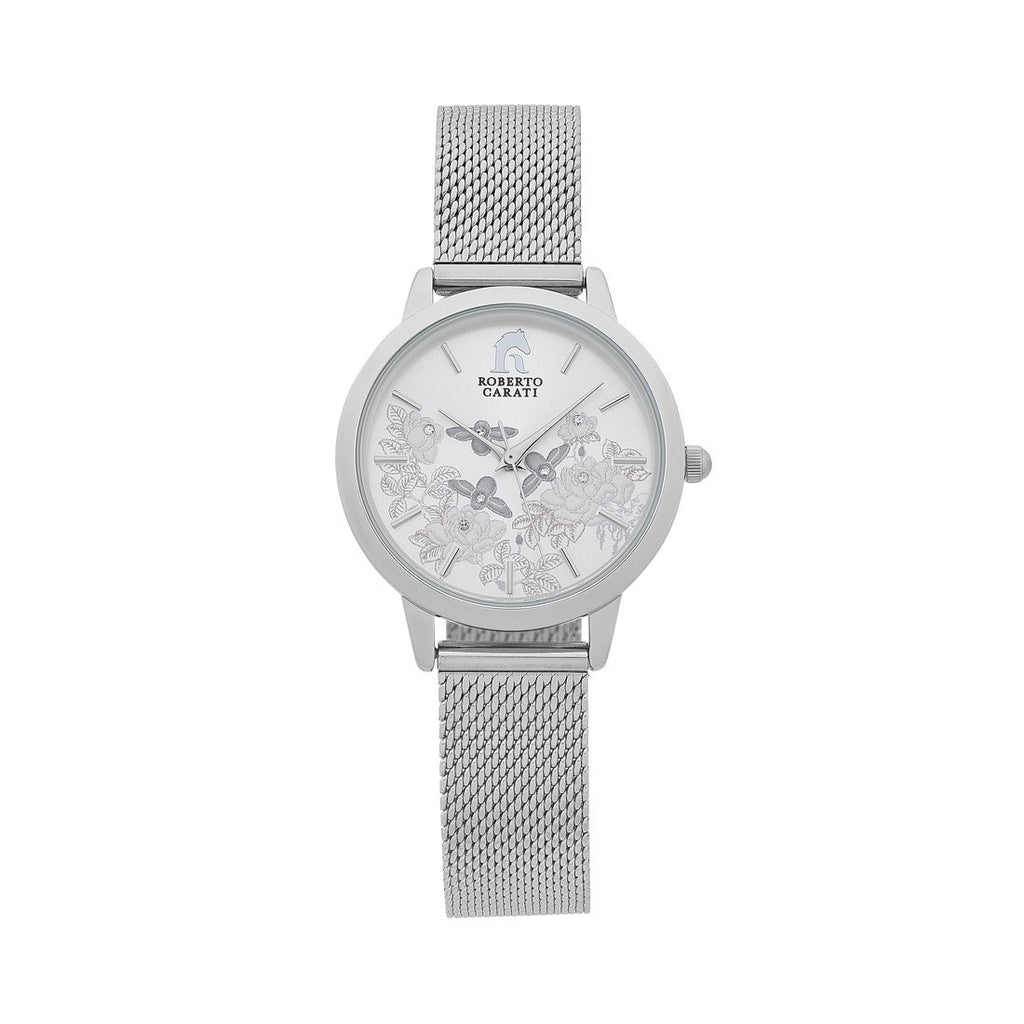 Roberto Carati Floral Silver Watch Watches Roberto Carati
